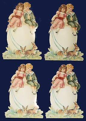"""Lot of 4 Large Reproduction German Litho 19th.c  Stand-Up Easter Cards 11"""""""