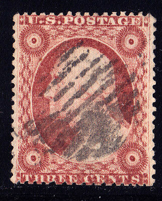 #26A - 3 Cents 1857, 96R11i, Double Transfer, THREE CENTS, ROSETTES, black grid