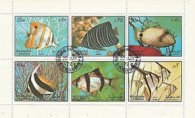 Sharjah Miniature Sheet Fishes Issue, Cancelled, But Full Gum