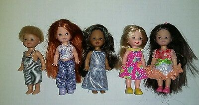 Lot Of 5 Barbie Doll Kelly Dolls Dressed Tommy African American Redhead Blond