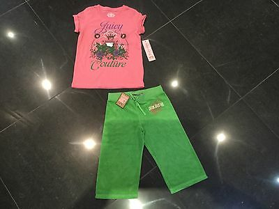NWT Juicy Couture New & Gen. Girls Age 8 Green Cotton Pants & T-Shirt With Logo