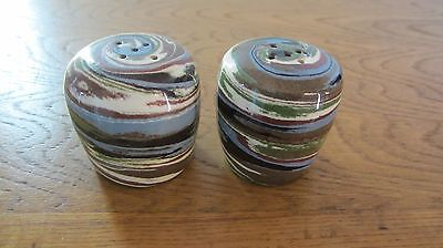 Desert Sands  Salt & Pepper Shakers w/ Cactus  Within Oval Stamp on the Bottom .