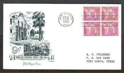 Us Fdc 1956 The Alamo 9C Stamps Artmaster First Day Of Issue Cover San Antonio