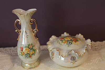 Japan Vase & Trinket Box Vanity Set Lustre With Beautiful Flower Bouquet