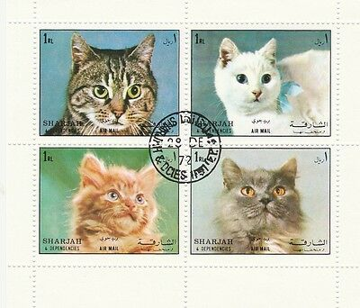 Sharjah Miniature Sheet Cats Issue, Cancelled, But Full Gum