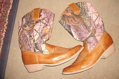 cowboy boots camoflage women's 10 pink brown tan black pointed toe