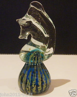 Vintage Signed Mdina Art Glass Seahorse Paperweight 13.5 cm.