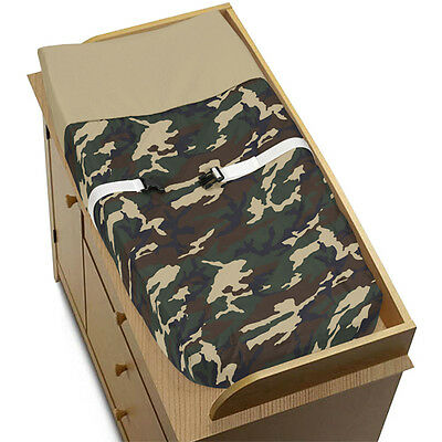 Sweet Jojo Design Changing Table Pad Cover for Camouflage Green Baby Bedding Set