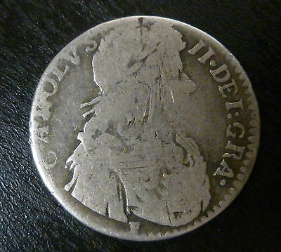 Scotland Silver Charles II 1/2 Merk ( =6s 8d)  S5616 1675 First Coinage
