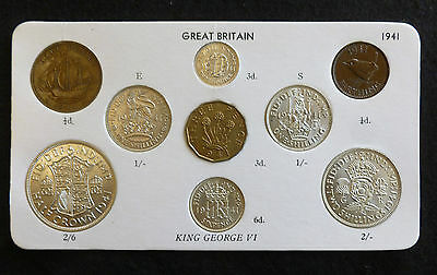 1941 George VI 9-Coin Type Year Set On Card ( Halfcrown - Farthing ) inc silver