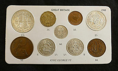 1945 George VI Quality 9-Coin Type Year Set On Card ( Halfcrown - Farthing )