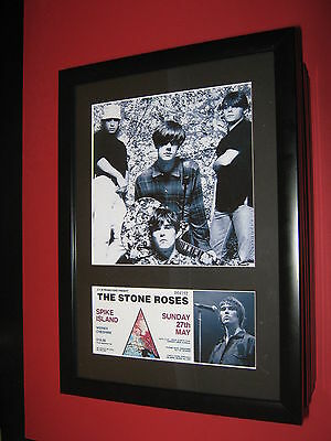 The Stone Roses A4 Photo Mounted Spike Island Ticket Ian Brown ( Not Signed )
