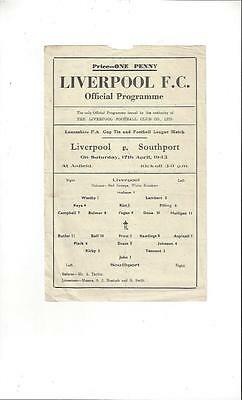 Liverpool v Southport Lancashire FA Cup Football Programme 1942/43