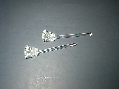 Vintage Crystal Glass  Shovel Type Open Salt Dip Spoons (Lot Of Two)