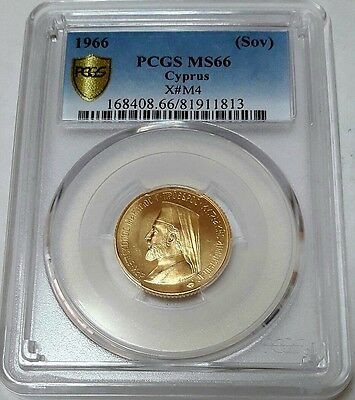 Cyprus Gold Sovereign 1966 Makarios III PCGS MS-66
