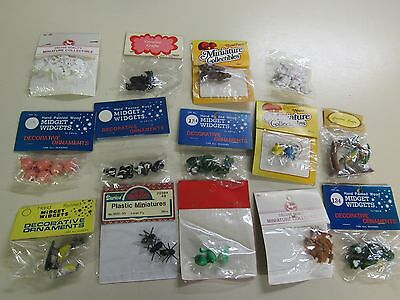 14 VINTAGE PACKS ASSORTED MINIATURE  ANIMALS  COLLECTABLES FAIRY GARDEN b