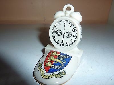 Arcadian China 5.9 Cm High Model Of An Alarm Clock On Stand With Hastings Crest