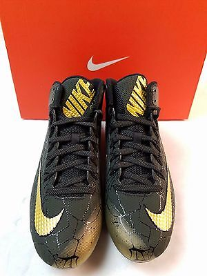 Nike Limited Alpha Pro 2  3/4 Mid TD PP Football Cleats 10.5 Black Sequoia Gold