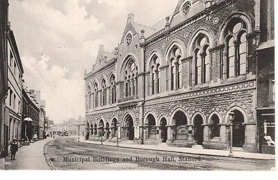 1906 STAFFORD Municipal Buildings & Borough Hall - shops, people