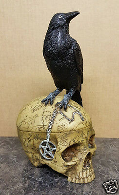 Resin Cast/Hand Painted - Salem Witch Skull Pentagram with Pet Raven Statue