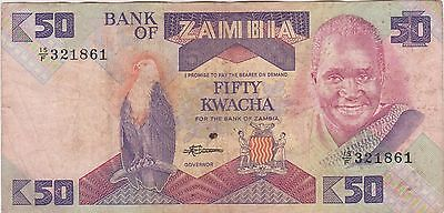 Zambia 50 Kwacha Serial #15/F 321861 Foreign world paper currency