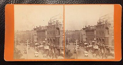 Rare Busy Broadway Near 14Th Street   Stereoview Photo New York City View 1870