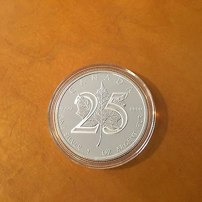 2013 Canadian Maple Leaf .9999 Silver 1 oz. Canada $5 Dollar Coin 25-Anniversary