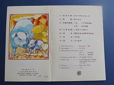1982 Rep of China presentation pack MNH stamp Chinese New Year issue 1982