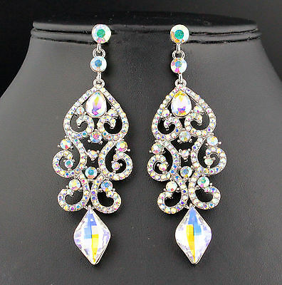 Sexy Ab White Austrian Crystal Rhinestone Chandelier Dangle Earrings E2084Ab