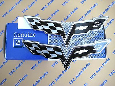 Chevrolet Corvette C6 100 Year Anniversary Front and Rear Emblems OEM Genuine GM