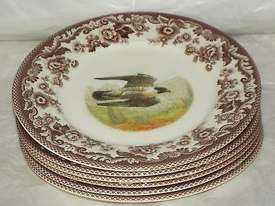 "SET Of 6 Spode Woodland PEREGRINE FALCON Birds Of Prey 9.25"" SALAD PLATES Eng"