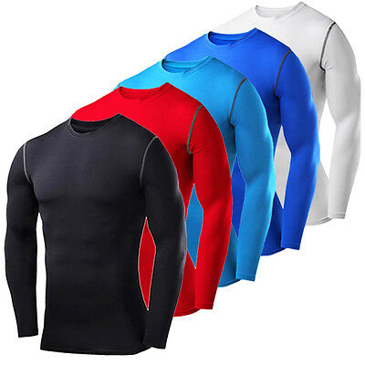 Mens Under Compression Top Long Sleeve Shirt Sports Exercise Base Layers Tights
