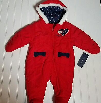 Tommy Hilfiger Baby Girl Snowsuit Sz 3 6 months Red New Tags Pram NWT