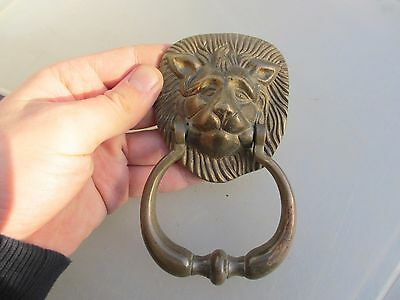 Small Vintage Brass Door Knocker Lion Head Lions Antique STYLE Reclaim Old
