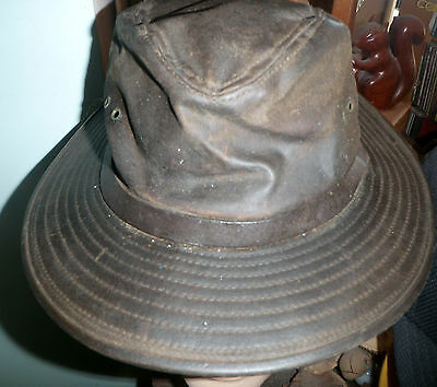 FILSON PACKER HAT TAN OIL CLOTH well used SIZE M   L -  19.99  2d47d3931be9