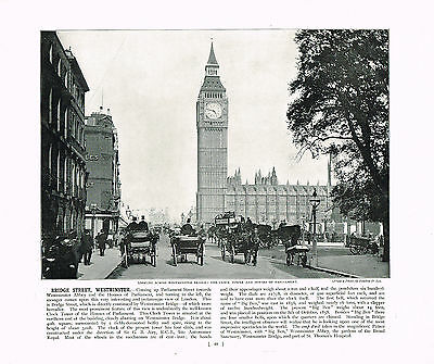 Bridge Street Westminster The Clock Tower Antique Print 1896 #48