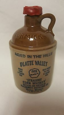 Vintage McCormick Platte Valley Straight Corn Whiskey Stoneware Jug Bottle