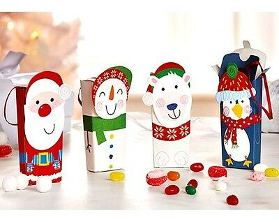 Set Of 4 Card Christmas Treat Gift Boxes With Hanging Ribbons - Brand New