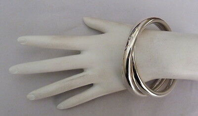 .925 Sterling Silver Chunky Heavy Connected Twin Bangle Bracelets 50.8 Grams