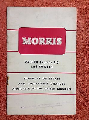 Morris Oxford (series II) and Cowley Schedule of repair charges. 1955.