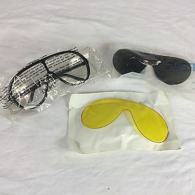 Vintage 80s 90s Crews Safety Glasses Goggles with replacement lens Black Frame