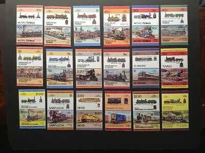 18 pairs of Trains stamps, please see description.