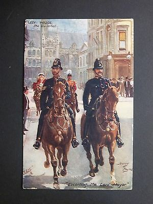"CITY POLICE The Guildhall ""Escorting the Lord Mayor"" Harry Payne Tuck's Postcard"