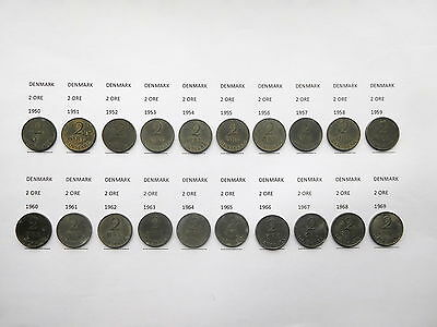 Bulk lot of  20  Denmark    2 ore coins  1950 - 1969. ( one each of every coin )