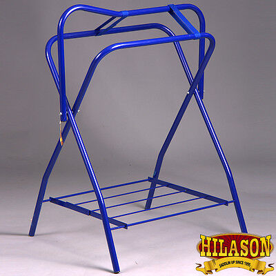 Hilason Portable Western English Folding Floor Metal Saddle Rack Blue Pack Of 2