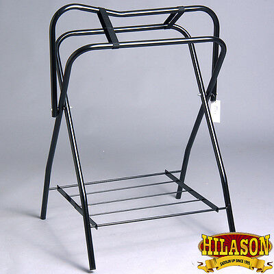Hilason Portable Western / English Folding Floor Metal Saddle Rack Black