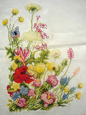 Completed Counted Cross Stitch Tapestry Unframed Picture Flowers Butterfly & Bee
