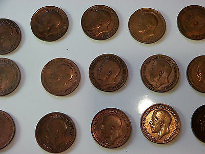 25 Vintage Victorian & Edwardian Copper Halfpenny Coins (2 initialled H)