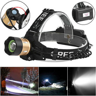 5000LM Bright XM-L T6 LED Zoomable Headlamp Headlight 18650 Lamps Outdoor Power