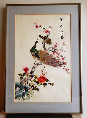 Chinese Embroidered Silk Framed Wall Art  Vintage 1970   Peacock/Birds/Flowers